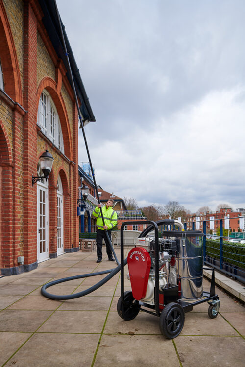 cleaning a building with interceptor