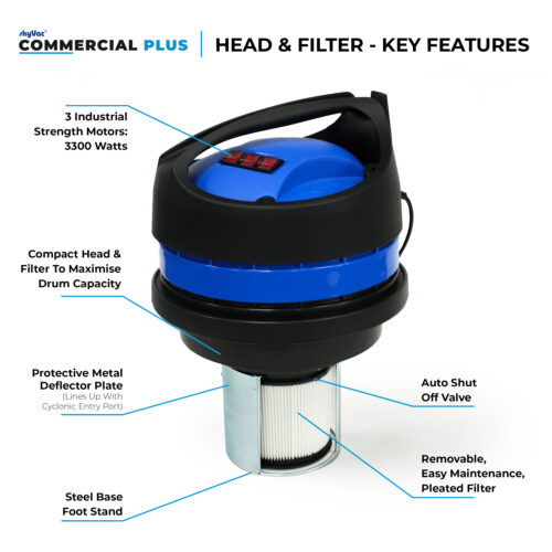 skyVac Commercial plus head & filter motor features